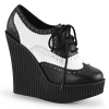 CREEPER-307 Black/White Vegan Leather